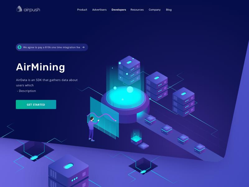 Airpush - Mining stats statistics fintech financial finance dashboard cryptocurrency chart bitcoin bank