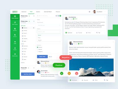 Social Media - Sentiment Analytics Dashboard back office report ux ui web design data chart sentiment social media analytic dasboard