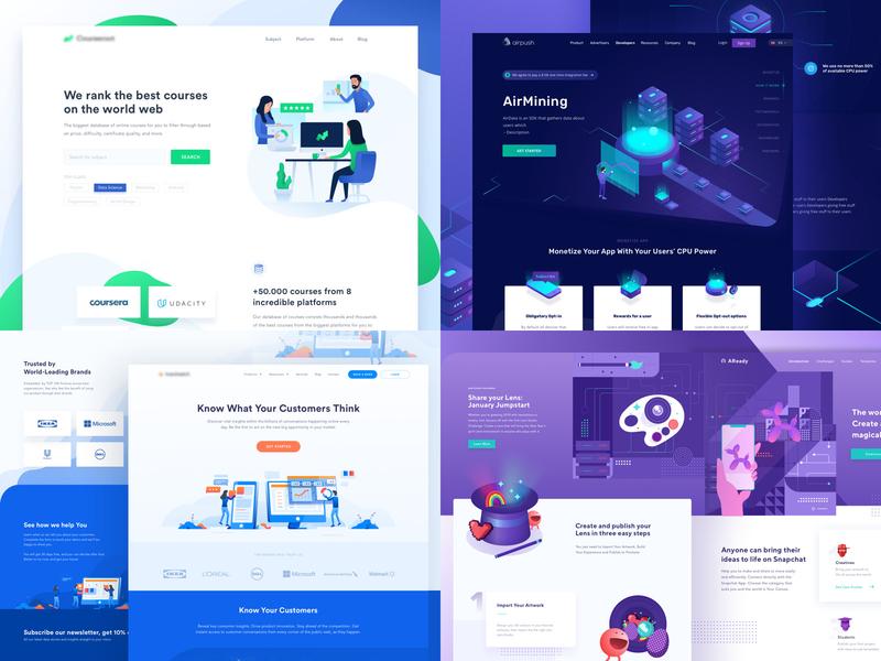 #Top4Shots 2018 app landing page website illustration finance dashboard