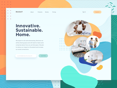 Cohousing Landing Page airbnb website dashboad property illustration landing page cohousing rent home