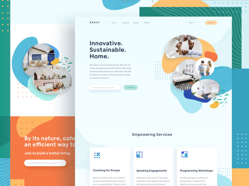 Rakat Cohousing Website minimal dashboard illustration website landing page home airbnb cohousing property rent