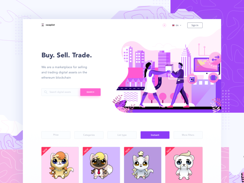 Swaplist Cryptocurrency Trader Website pattern illustration fintech finance dashboard landing page website trading ethereum block chain cryptocurrency bitcoin
