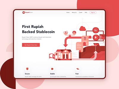 Rupiah Token Website flat minimal money flat design blockchain cryptocurrency crypto wallet bitcoin illustration website finance dashboard