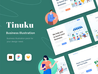 Tinuku - Business Illustration website landing page startup business illustration bundle vector illustration flat design creative market ui8 illustration pack vector finance illustration