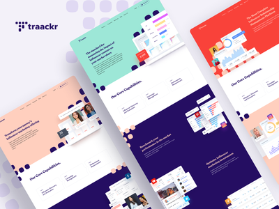 Traackr - Website design finance flat minimal advertorial advertising ads celebrity twitter instagram dashboard influencer social media ux ui landing page website