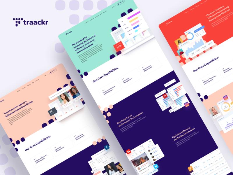 Traackr - Website design finance flat minimal advertorial advertising ads celebrity twitter instagram dashboard influencer social media ux ui landing page website