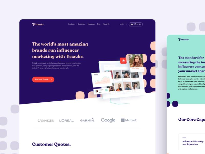 Traackr - Website Omnicreativora modern pattern web design minimalist influencer platform marketing ux ui dashboard website design landing page website