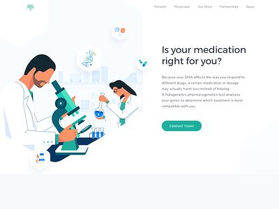 Nalagenetics Website - Omnicreativora insurance genetics web design laboratory prescription dna hospital patient doctor medic medical healthcare health landing page ux ui website