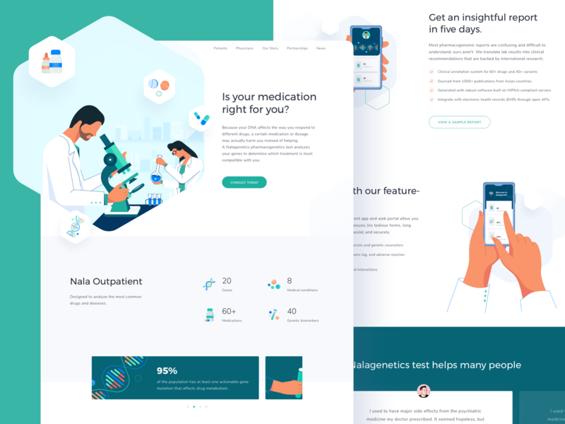 Nalagenetics Website - Omnicreativora insurance genetics web design laboratory prescription dna hospital patient doctor medic medical healthcare health landing page ux ui website