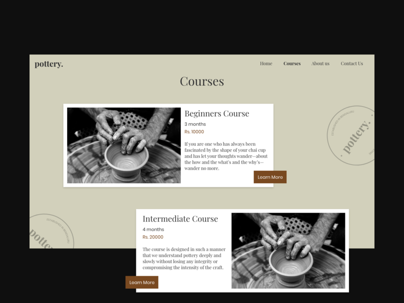 Pottery courses page