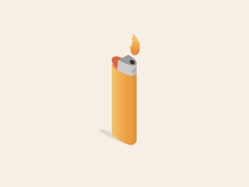 Lighter fire lighter vector logo minimal illustration design