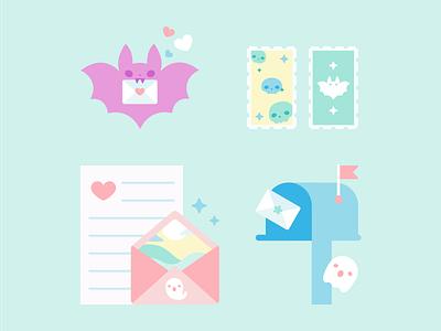 Send a Letter mail letter bat usps cute flat vector illustration