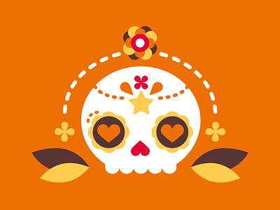 Sugar Skull star flower illustration flat vector dayofthedead sugarskull