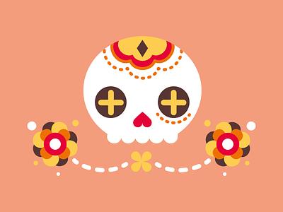 Sugar Skull / 3 star flower illustration flat vector dayofthedead sugarskull