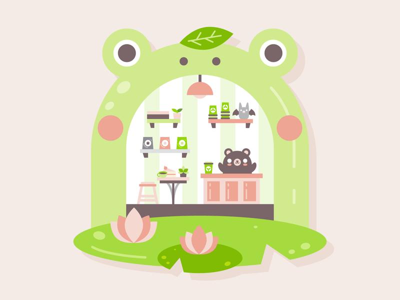 Bearista bear illustration lily pad cafe barista bear frog illustration flat vector