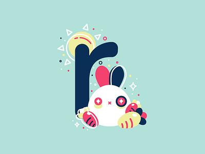 R 36daysoftype 26daysoftype cute flat illustration vector rabbit