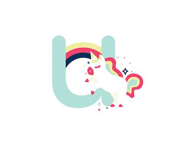 U 36daysoftype 26daysoftype flat cute vector illustration unicorn