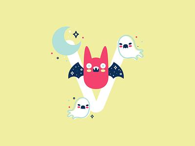 V 36daysoftype 26daysoftype cute flat vector illustration bat vampire bat vampire
