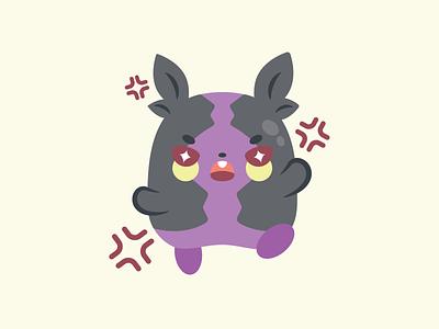 Morpeko angry cute flat vector illustration morpeko pokemon