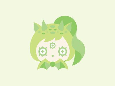 Naga cute flat vector illustration green dragon girl girl animal dragon