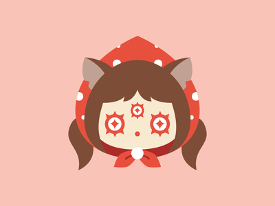 Red cute flat vector illustration wolf girl wolf red riding hood red