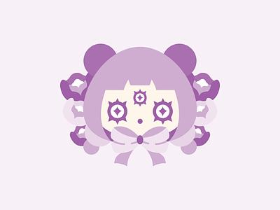 Pandora cute flat vector illustration purple panda girl panda