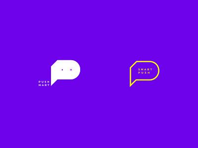 PushMart - Smart Notification push notification push design branding logo