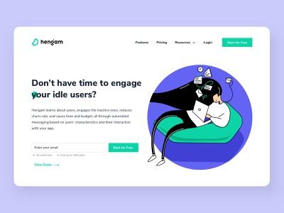 Hengam Landing Page notification notifications push notification push website design web illustrations ui designs landing page landing page design user interface design ux ui uidesign hengam graphic illustration design