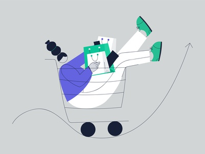 INCREASE SHOPPING  ILLUSTRATION illustrations charecter shopping shopping cart increase ai graphic illustration design