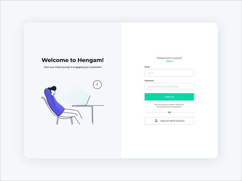 Hengam Sign Up ux design illustrations adobe adobe xd push notification sign up uidesign hengam ui