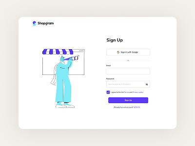 Shopgram Sign Up ux design ux sign up product hengam stores shopgram ui shopify design uidesign illustration