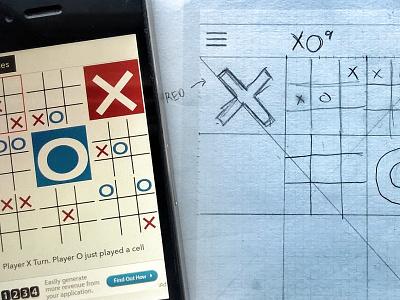 XO9 Game iOS vs Sketch xo9 design draft uistenicls pencil paper sketch iphone