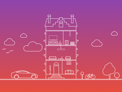 Onboarding Composition line birds house tesla trees clouds bicycle mailbox sunset contemporary gradient furniture