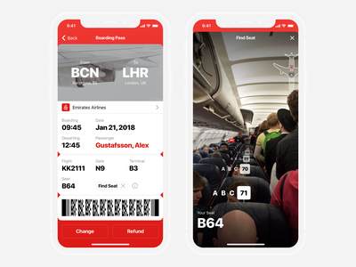 AR Boarding Pass ticket ar app mobile freebies sketch uikit pass boarding plane freebie ios