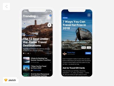 Blog ios freebie travel article post uikit sketch freebies mobile app news blog