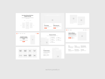 Sections Wireframe Kit flow ux web sketch wireframe kit wireframe prototyping prototype uikit