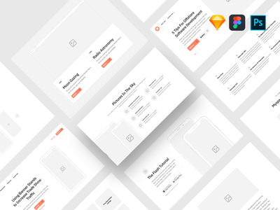 Sections Wireframe Kit flow website prototype web design figma photshop web wireframe uikit sketch
