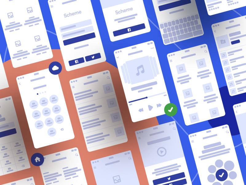 Scheme Flowcharts 2.0 uikit vector design android ios mobile ui flow prototype figma wireframe ux web sketch