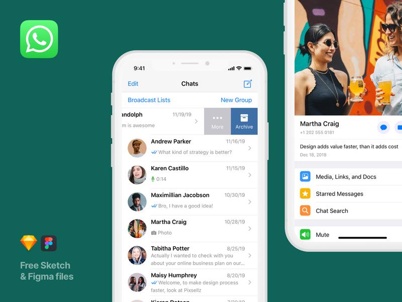 UI screens for WhatsApp messenger - Mobile Apps Library free messenger mockups mockup apps mobileapps mobileapp mobile whatsapp app vector design prototype ui figma sketch