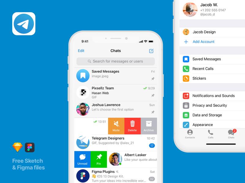 UI screens for Telegram messenger - Mobile Apps Library freebie free vector mobile socialapp sketch figma uiux uikit sketchapp screens messenger telegram mockup design mobileapp apps