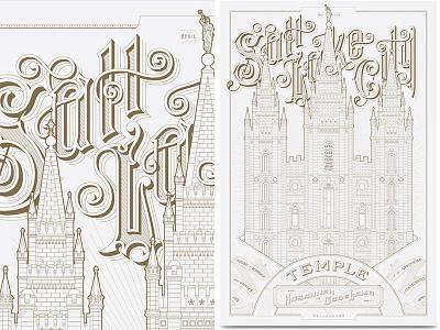 SLC Temple Poster Pre-Sale kevin cantrell design kevincantrelldesign letterpress saltlakecity temple lds ldstemples mormontemples mormonart kcd
