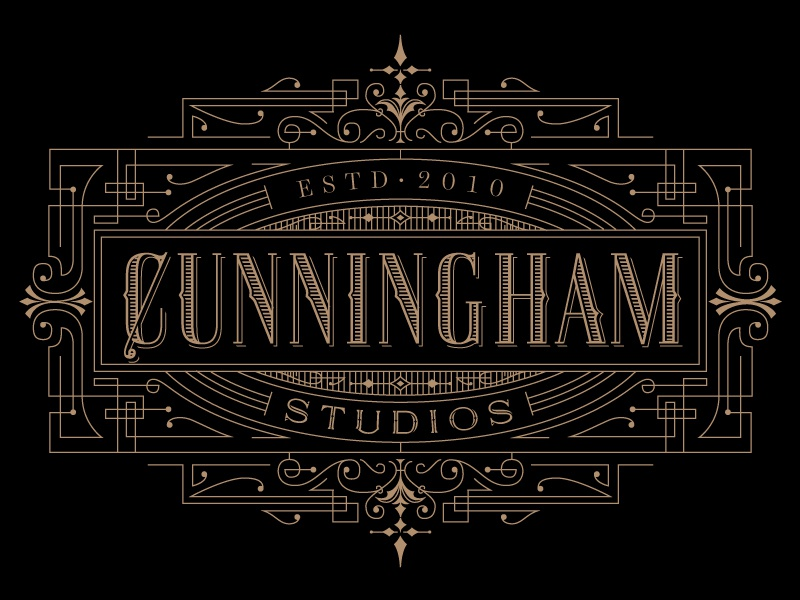 Cunningham Studios Identity kevincantrelldesign logo identity vintage lettering