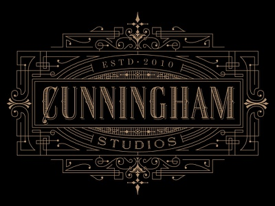 Cunningham Studios Identity kevincantrelldesign logo identity vintage lettering