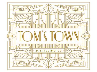 Tom's Town Distillery Co. Identity toms town distilling co. distilling lettering vintage identity logo kevincantrelldesign
