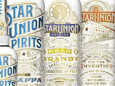 Star Union Spirits Packaging type typography foilstamping vector branding logos packaging lettering