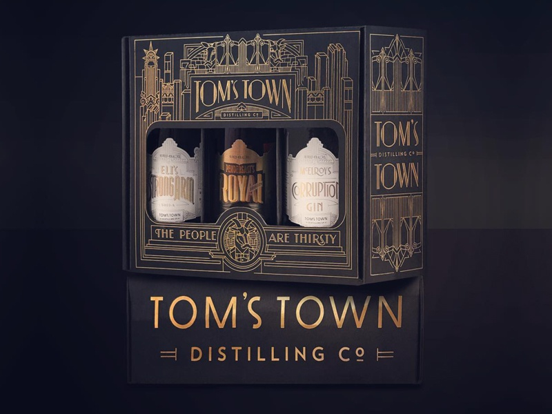 Tom's Town Gift Packaging spirits type typedesign typography packaging branding lettering