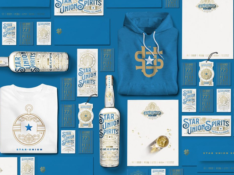 Star Union Spirits Collateral packaging spirits branding customlettering typography type typedesign lettering