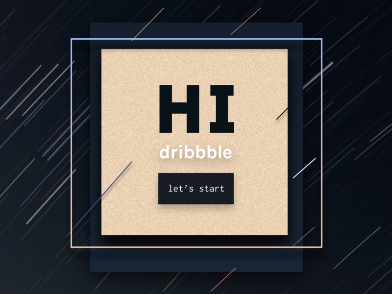 Hi Dribbble! space typography ux ui first shot