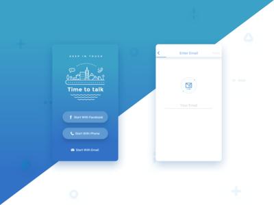 Start screens of calling app