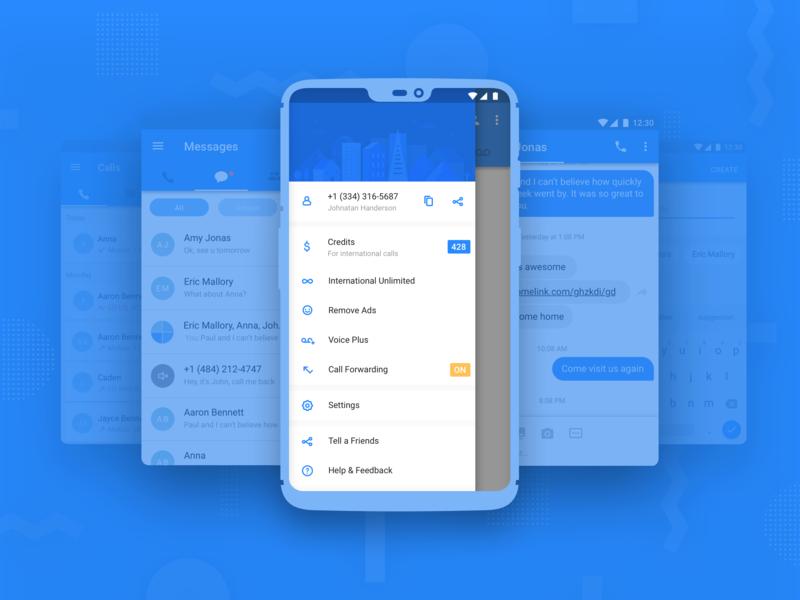 Navigation drawer icons ux ui illustration message app calling app material design android app